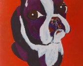 bull dog  Original WaterColor and acrylic  Painting  animal art bull dog painting size 16/24 cm  . 6 / 9  Inch