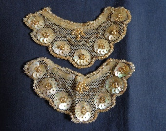 1920's Applique gold sequins a pair.