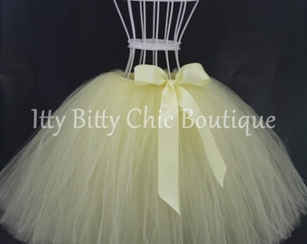 Childrens Any Color Full-Length Romantic Long Tutu Skirt Light Yellow Bow Weddings Flower Girl Photo Prop Dress-Up Princess Costume