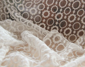 beige Lace Fabric Vintage Style Circle Lace Tulle Embroidered Lace Bridal Lace Fabric Curtain Scarf Fabric- 1/2 yard