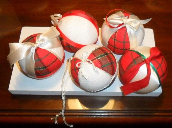 Christmas balls hang from the tree and silk tartans/Handmade Christmas bauble-tartan and silkatal