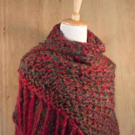 Exotic Hand Knit Wrap, Women's Shawl, Red Green Wrap, Winter Wrap, Handmade