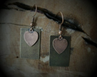 Antiqued heart drop earrings
