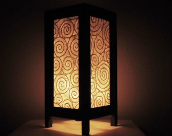 Thai Handmade Asian Oriental Spiral White Color Paper Lamp Bedside Table Light Home Decor Bedroom Decoration Modern Thailand