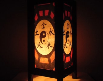 Thai Handmade Asian Oriental Chinese Yin Yang Paper Lamp Shade Bedside Table Light Home Decor Bedroom Decoration Modern Thailand