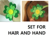 Spring Accessories -Set of 2 Cute Green Fresh Spring Flowers For Headband and Bracelete for  kids