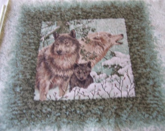 Wolf lovers! This is for the material only not a finished quilt. There are 10 pictures on the fabric-good for pillows.