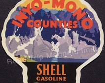 Shell Gasoline 1920s Travel Decal Magnet for INYO - MONO COUNTIES. Accurate reproduction & hand cut in shape as designed. Nice Travel Art.