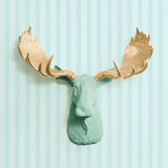 The alberta in mint gold antler faux moose head green fake - Fake moose head mount ...