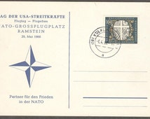 Vintage Special Commemoration Postcard, Day of US Armed Forces Ramstein Airshow Germany, May 29 1960, German stamp, canceled 1962, Philately