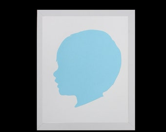 Custom Silhouette Portrait,Personalized Children's Silhouette Art,Profile,Custom Gift,Custom Keepsake,Nursery Art-5x7 or 8x10 - LIGHT BLUE