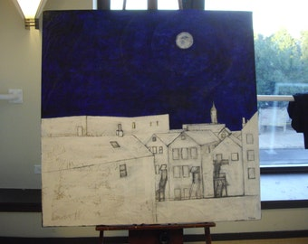 """Large landscape of Pilsen titled """" My view without her"""