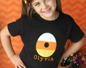 Personalized Candy Corn Shirt, Custom Embroidered Name, Perfect for Halloween and the Fall Season