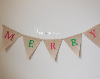 merry burlap banner / Holiday Photo Props/ Holiday home deco / Christmas burlap banner / winter sign