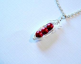 Pea pod Necklace, Pod Necklace, Red Pod,3 Necklace, Peas In A Pod, Jewelry, Gift Idea, Three Pod Necklace, Peapod, Red Jewelry