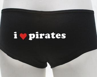 Ladies Booty Shorts - I Heart Pirates 2