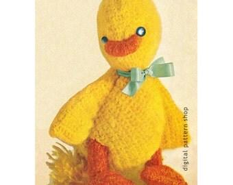 Crochet Duck Pattern Stuffed Toy Duck Crochet Pattern Mohair Baby Duckling Instant Download C83