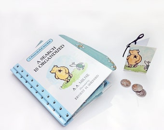 "Winnie -the-Pooh Coin Purse, AA Milne, A Search is Organized, Book coin purse, ""Nobody can be uncheered with a balloon"" Or a book purse :)"