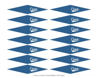 Pennant Food/Straw Flags-Baseball Party Package, Baseball Birthday, Food Flags, Straw Flags