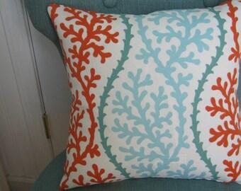 Beach Coral Outdoor Pillow Cover Coastal Nautical  Designer Fabric Patio Porch  Home Decor  18 x18 Throw Pillow Weather Resistant