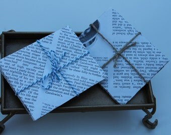 "Notecard Set Made From Recycled Books 3.75""x4.5"""