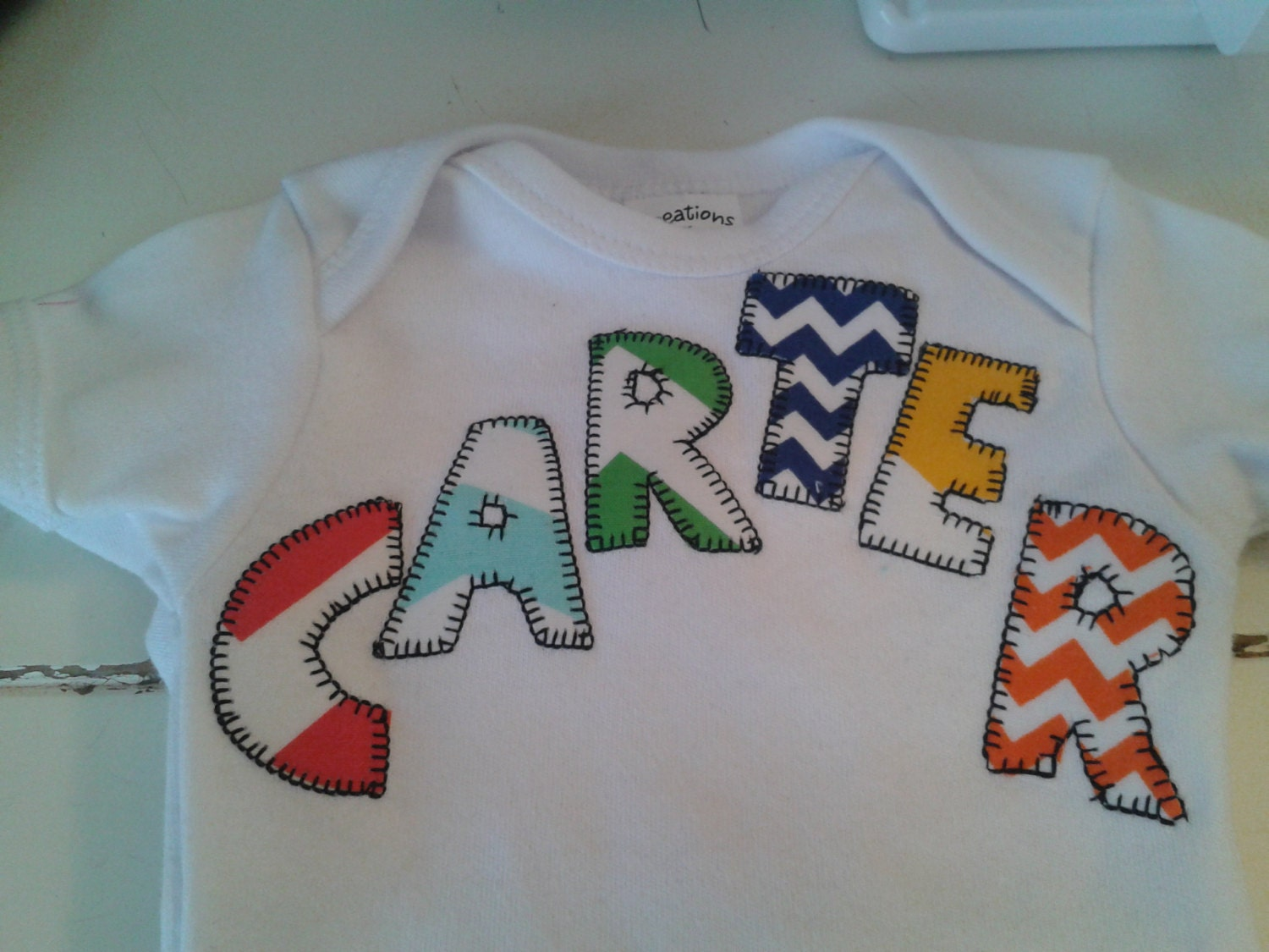 Personalized name aplique shirt or onsie