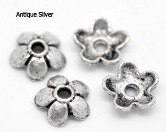 100pcs Antique Silver Plated Flower Bead Caps 6mm (No.897)