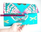 Clutch Sewing Pattern, Handbag PDF Tutorial, Tri Fold Clutch with Inside Divisions