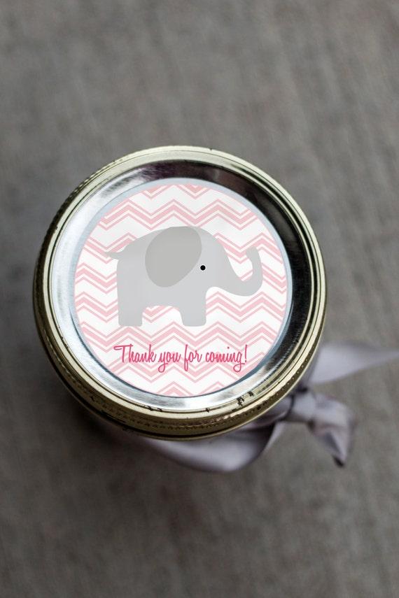 Printable Elephant Baby Shower Mason Jar Label Pdf For Girl