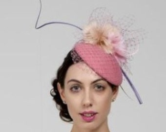 Royal Ascot, Wedding, Dubai Cup, Melbourne Cup, Derby, Couture Hat on Pale Pink round base.