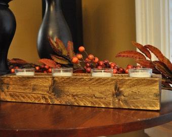 Wood rustic box, Votive candle holder, Table centerpiece, Storage bin, Window box, Desk organizer, 17in box, Wedding, Long matches fireplace