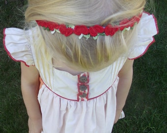 m2m Apple Headband or Clip: Red Apple embroidered headband or hair clips made to match either of Well Dressed Wolf's Apple Dresses