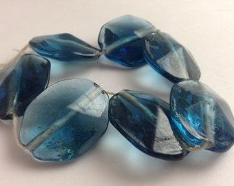 DENIM BLUE GLASS Ovals. Faceted Glass