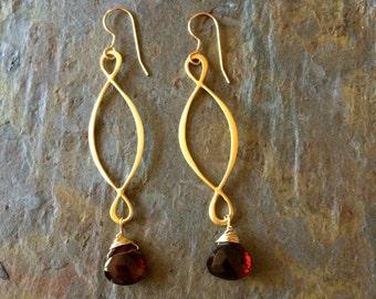 Garnet gemstone gold dangle earrings