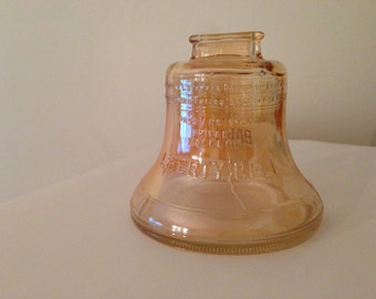 Vintage Liberty Bell glass bank