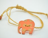 Elephant Charm Bracelet With Wooden Beads Adjustable Hippie Boho
