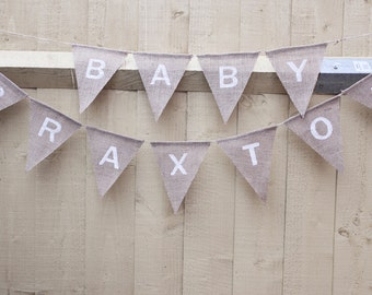 Personalised baby shower burlap bunting banner birthday decoration, neutral