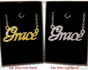 Name Necklace Grace - 18K Gold Plated, Czech Rhinestones