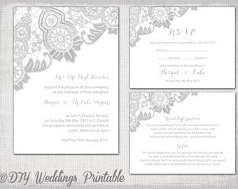 "Lace Wedding invitation template Silver Gray ""Antique Lace"" printable wedding invitations, RSVP response, info card/ enclosure Download"