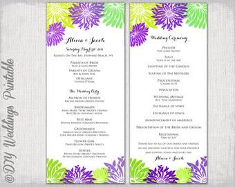 burlap flower template - rustic wedding program template burlap lace diy