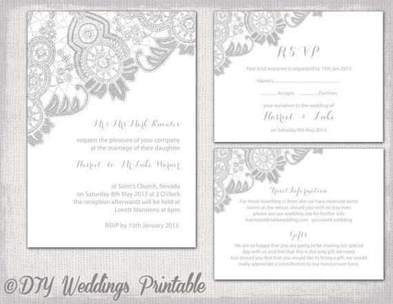 Lace Wedding Invitation Template: Lace Wedding Invitation Template Silver Gray Antique