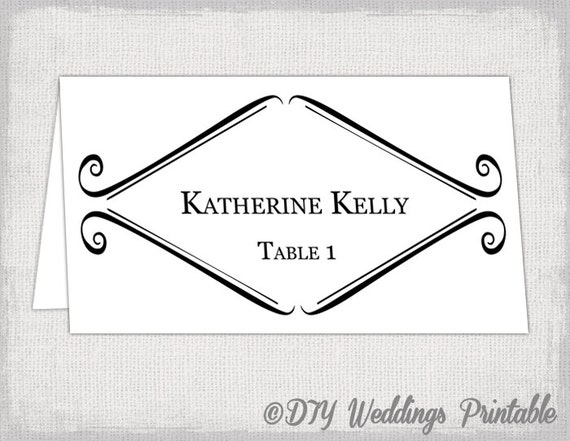 Printable place card template tent wedding name card templates for Free tent card template