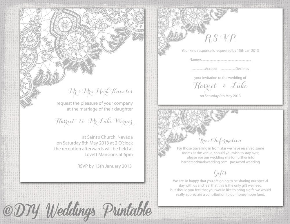 Silver Wedding Invitations: Lace Wedding Invitation Template Silver Gray Antique