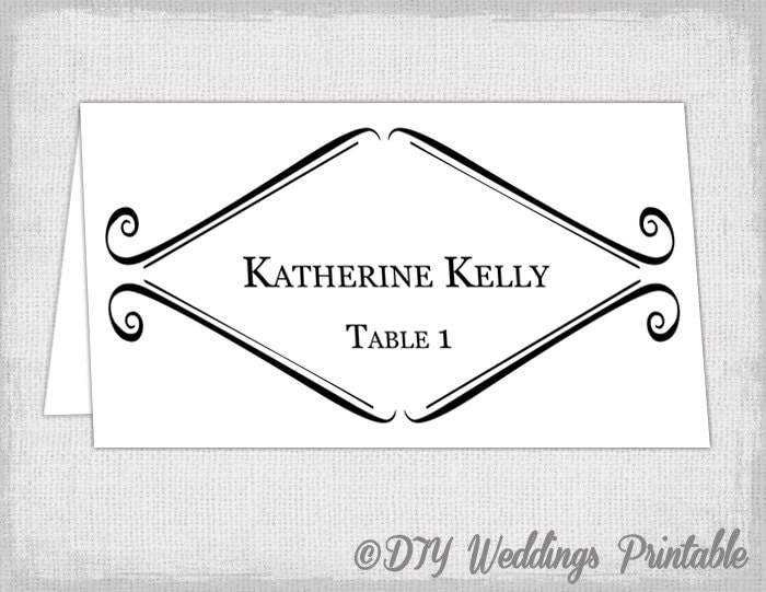 Printable place card template tent wedding name card templates for Tent place card template