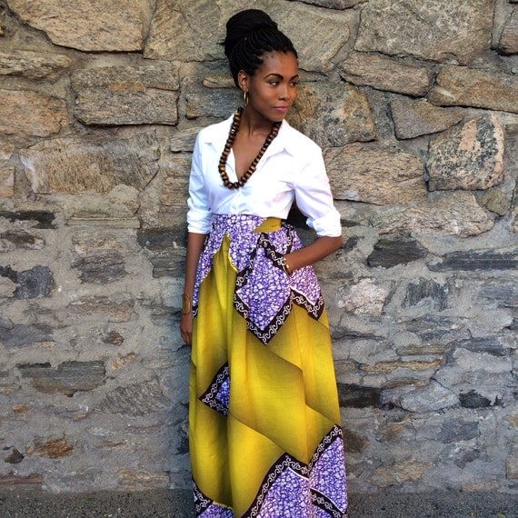 African Print Maxi Skirt - Diamond Maxi Skirt