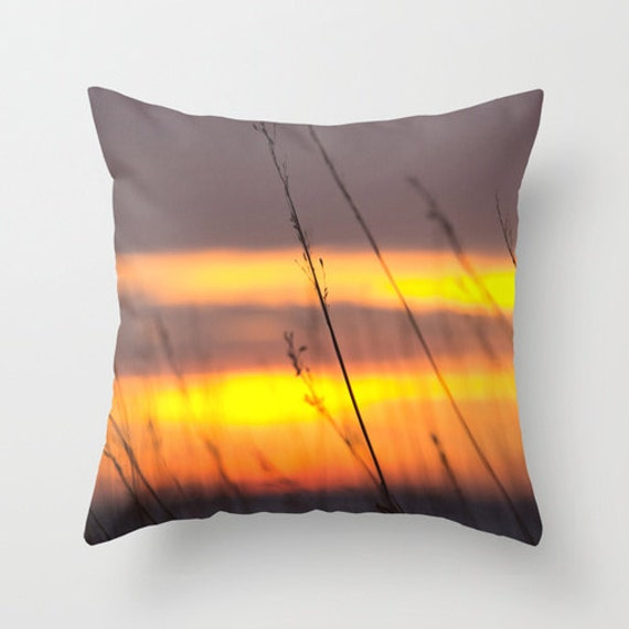 Winter Sunset, Pillow Cover, Midwest Photo, Throw Pillow, Colorful Home Decor, Midwest Images, Winter Photograph, Snowy Evening, Unique