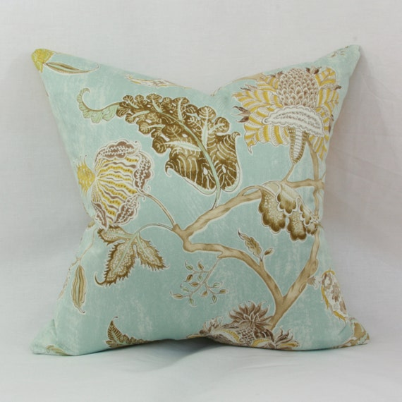 Spa blue floral decorative throw pillow cover. 20 x