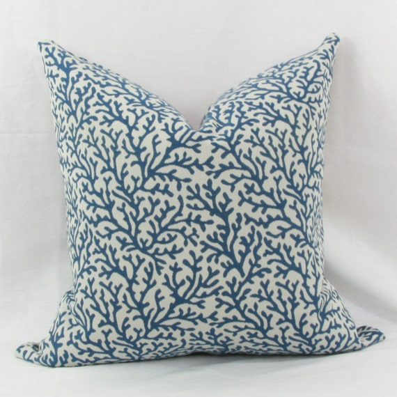Blue Coral Throw Pillow : Navy blue & white coral reef throw pillow cover. 18 x