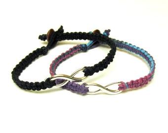 Purple Haze and Black Infinity Bracelets, Set of Two, Macrame Hemp Jewelry for Couples or Friends