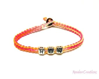 Bracelet for Runners, Pink and Orange RUN Bracelet, Sherbert Macrame Hemp Jewelry, Black Friday Cyber Monday Sale